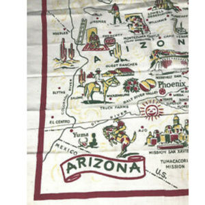 Vintage Arizona LInen Table Cover Frameable Art